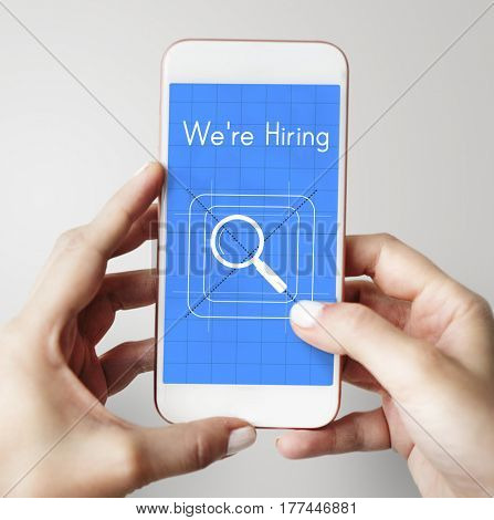 Job search magnifier glass symbol