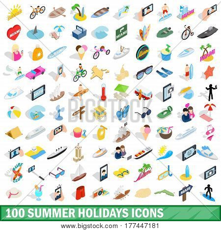 100 summer holidays icons set in isometric 3d style for any design vector illustration