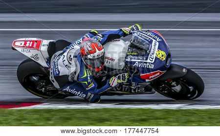 SEPANG MALAYSIA - JANUARY 30 2017 : Reale Esponsorama Racing rider Hector Barbera during 2017 MotoGP pre-season test at the Sepang International Circuit.