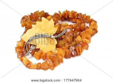Vintage beads of amber on a white background