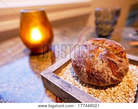 Whole wheat bread on the table in fine dining restaurant