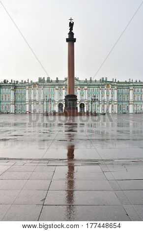 Palace Square - the main square of St. Petersburg at rainy day Russia.