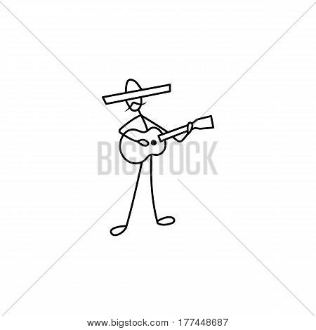 Stick figure man guitarist vector in sombrero