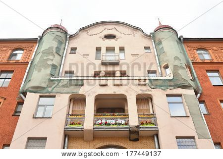 Facade of old building in historic center of St.Petersburg Russia.