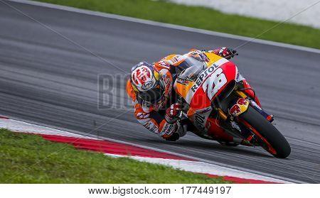 SEPANG MALAYSIA - JANUARY 30 2017 : Repsol Honda Team rider Dani Pedrosa taking a corner during 2017 MotoGP pre-season test at the Sepang International Circuit.