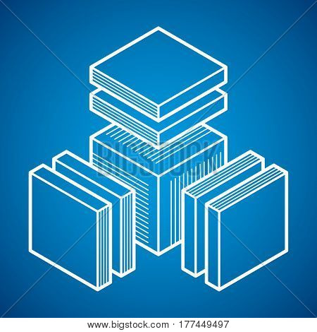 Engineering Three-dimensional Construction, Abstract Vector Trigonometric Shape.