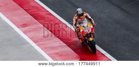 SEPANG MALAYSIA - JANUARY 30 2017 : Repsol Honda Team rider Marc Marquez during 2017 MotoGP pre-season test at the Sepang International Circuit.