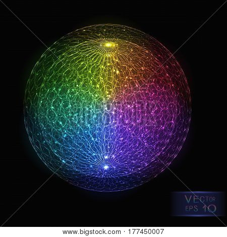 Bright Abstract Colorful Luminous Sphere on Dark Background. Decorative Scientific Design Element Neon Rainbow Globe of Various Colors with Glowing Particles.