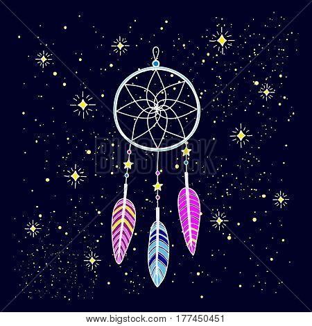 Hand drawn dream catcher with feathers and decor isolated on blue background. The traditional native american talisman.
