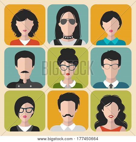 Vector set of different brunet people app icons in flat style. People heads and faces images collection