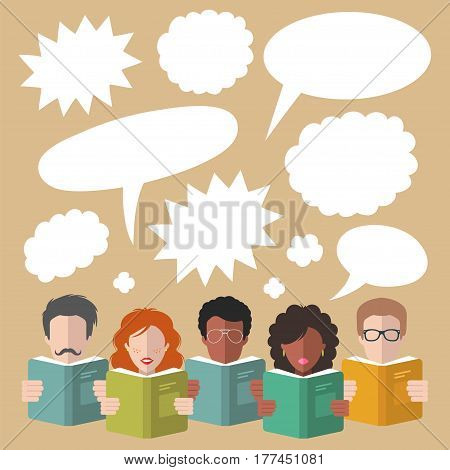 Vector illustration of speech bubbles with people reading books in flat style