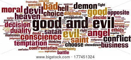 Good and evil word cloud concept. Vector illustration