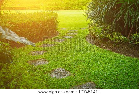 pathway in garden with a Freshly Mowed lawn, green garden, Landscaping in the garden. The path in the garden.pathway in the park,curve walkway on green grass field and flower garden