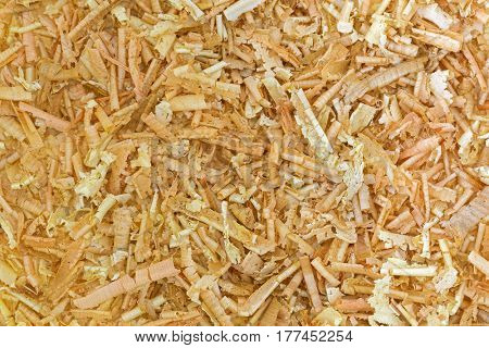 Closeup texture of aromatic flake of Swiss stone pine, Austrian Arolla pine wood chips (Pinus cembra)