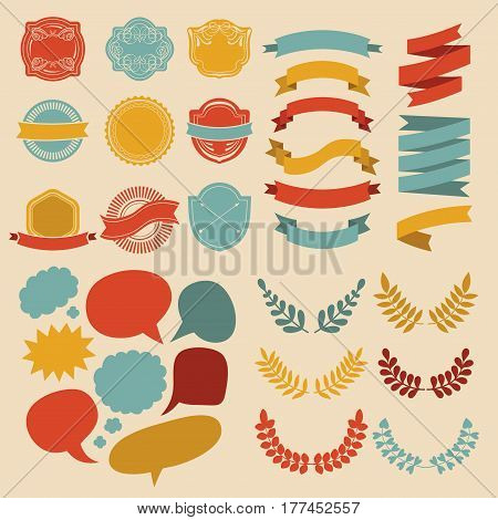 Big vector set of different shapes ribbons, laurels, labels and speech bubbles in flat style