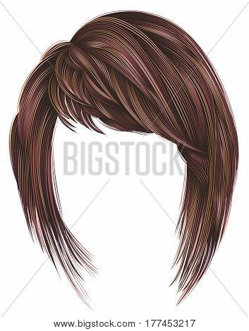 trendy  woman  hairs kare with fringe  . pink red  colors .  medium length . beauty style . realistic  3d . koloring highlignting.