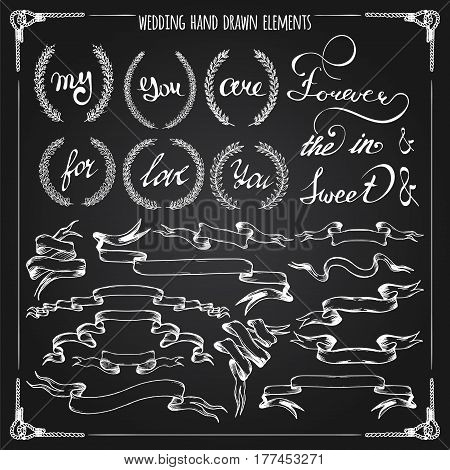 Big hand drawn wedding graphic set of laurels, wreaths, ribbons, hearts and hand lettered elements on chalkboard in vector