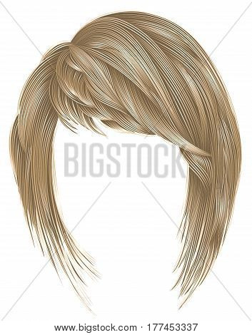 trendy  woman  hairs kare with fringe  . light  blond  colors .  medium length . beauty style . realistic  3d .