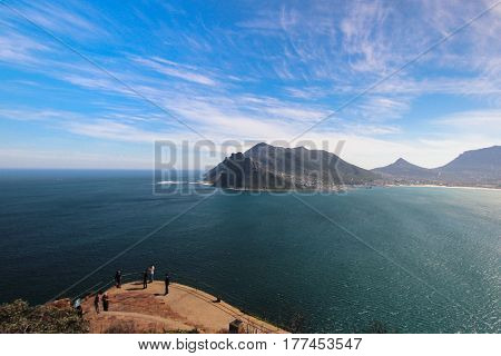 View of Hout Bay from Lookout Point on Chapman's Peak in Cape Town South Africa