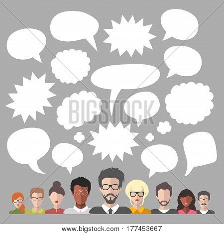 Vector illustration of social media icons in speech bubbles with group of people in trendy flat style