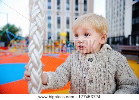 Cute Toddler Boy Having Fun On Playground
