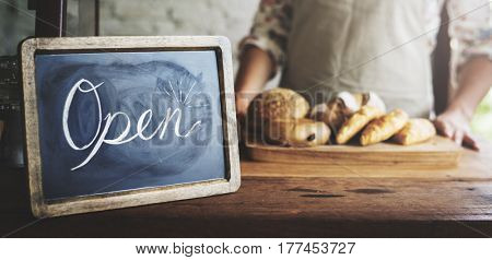 Open Sign in Bakery Shop