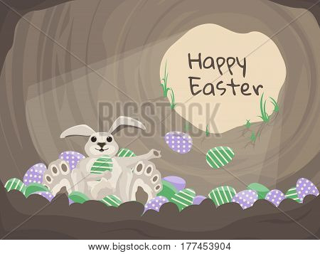 Happy Easter card. Vector background with rabbit and eggs. Happy bunny sitting in burrow with many colorful eggs. Illustration in flat style.