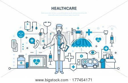 Modern medicine and the health care system, the doctor and special tools, the atmosphere and equipment. Illustration thin line design of vector doodles, infographics elements.