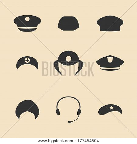 Vector set of different professions hats icons in trendy flat style