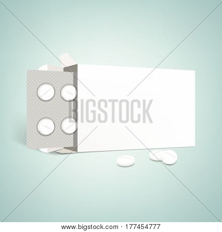 Pharmaceutical packaging advertisement: open drugs box with blister and pills blank label