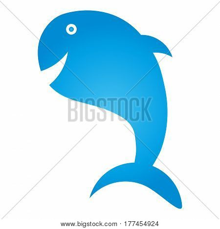 Whale, fish in blue, animal, whale and fish logo