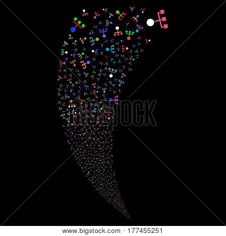 Hierarchy random fireworks stream. Vector illustration style is flat bright multicolored iconic symbols on a black background. Object fountain created from scattered icons.