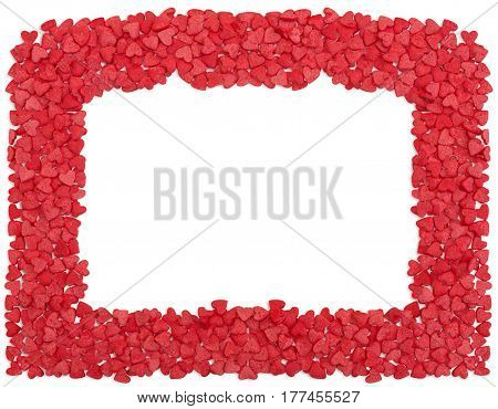 Horizontal red hearts frame, copy space, isolated over white with path.