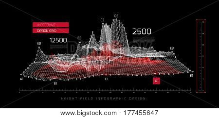 Height field infographic design. Vector illustration on black background