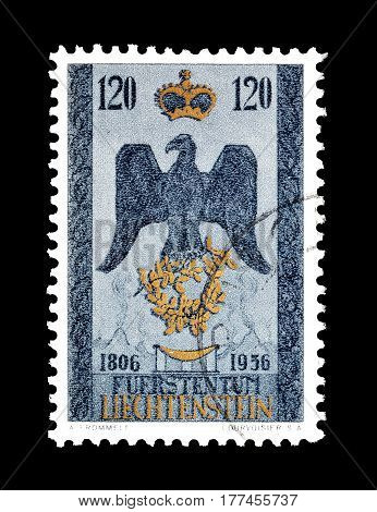 LIECHTENSTEIN - CIRCA 1956 : Cancelled postage stamp printed by Liechtenstein, that shows Coat of arms.