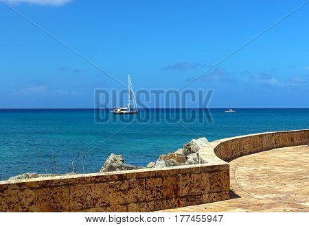 Blue sky and water of the Caribbean at Frederilsted on St. Croix in the USVI
