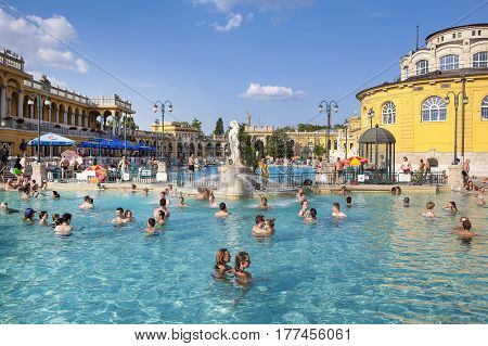Budapest Hungary - 8 Jule 2016: Szechenyi Thermal Baths and Pool in Budapest Hungary 8 Jule 2016