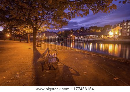 Embankment in Exeter. Night scene. The city is deserted and quiet. Devon. England