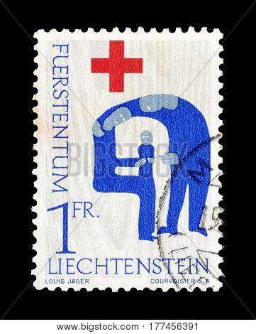 LIECHTENSTEIN - CIRCA 1963 : Cancelled postage stamp printed by Liechtenstein, that shows Figures.