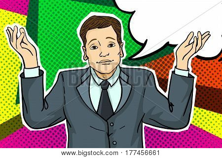 Businessman throws up his hands. Sorry businessman in pop art comics style.