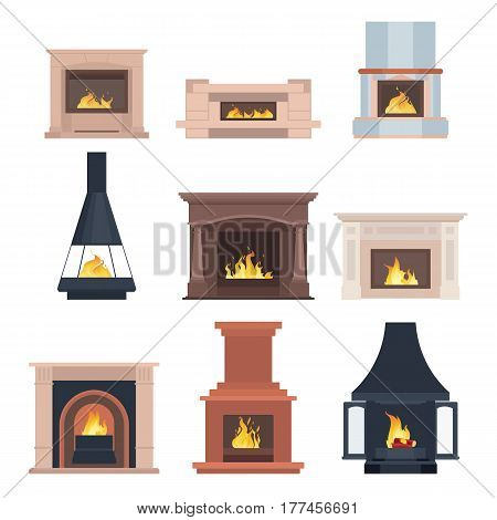 Collection of home different fireplaces to paste in the interior of the house phone or computer games. Vector illustration isolated on white background eps10