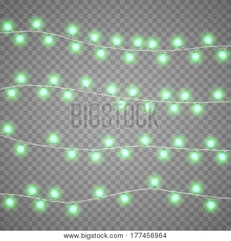 Christmas red garlands isolation on transparent background. Xmas realistic overlay lights card. Holidays decorations bright lamps. New Year decorations elements. Vector gloving garland illustration