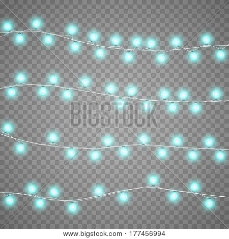 Christmas blue garlands isolation on transparent background. Xmas realistic overlay lights card. Holidays decorations bright lamps. Vector gloving garland illustration