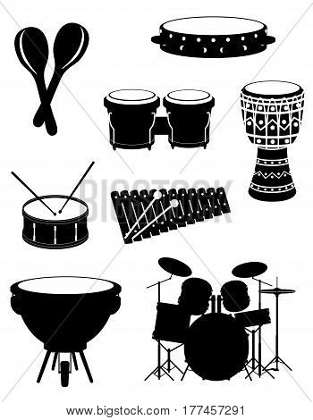 percussion musical instruments set icons black outline silhouette stock vector illustration isolated on white background