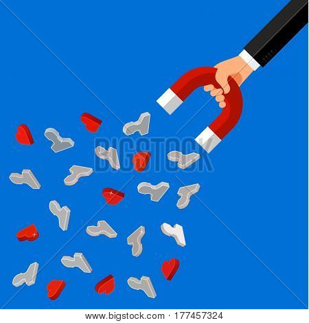 Concept of attracting customers and clients to business. Hand holding magnet. Vector illustration in flat style.