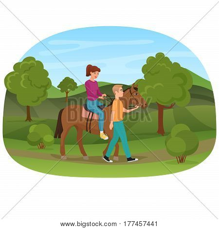 Man leading the horse with the woman riding on it vector illustration
