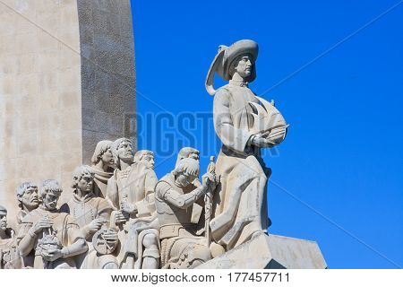 Details of Monument to the Discoveries, Padrao dos Descobrimentos in portuguese,  in northern bank of the Tagus River estuary in Lisbon