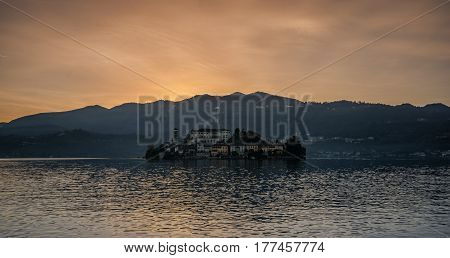 Saint July Island, Orta Lake. Sunset on the quiet lake