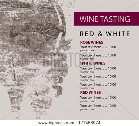 vector menu for wine tasting with price glass and grapes on the background of a wooden board texture