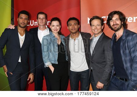 LOS ANGELES - MAR 20:  JR Lemon, Brendan Fehr, Jill Flynn, Robert Bailey Jr, Scott Wolf, Eoin Macken at the NBCUniversal Summer Press Day at Beverly Hilton Hotel on March 20, 2017 in Beverly Hills, CA